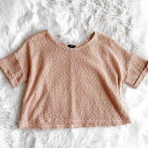 H&M Peach Short Sleeve Boucle Top